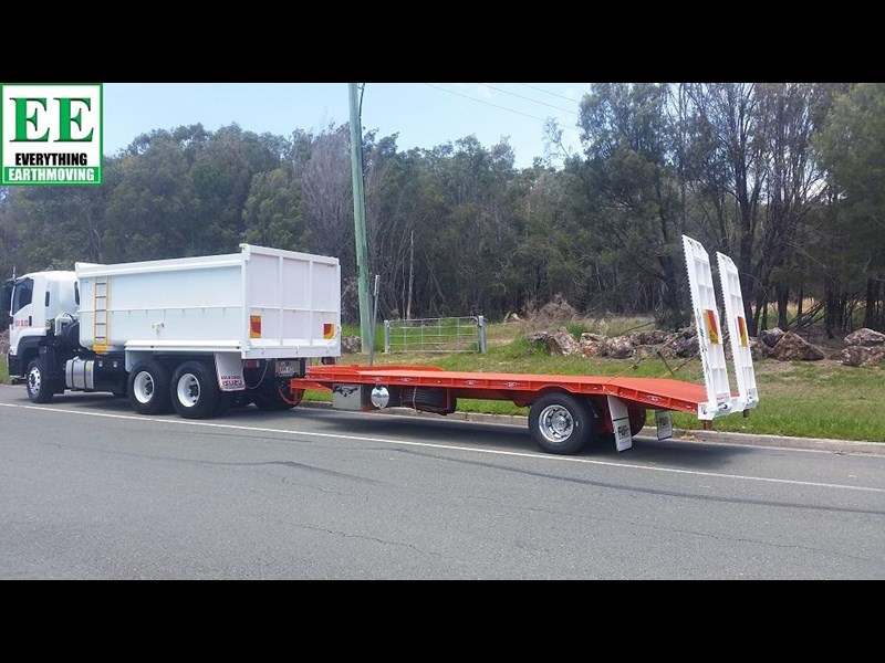 everything earthmoving 11t atm single axle tag trailer with beaver tail 357093 069