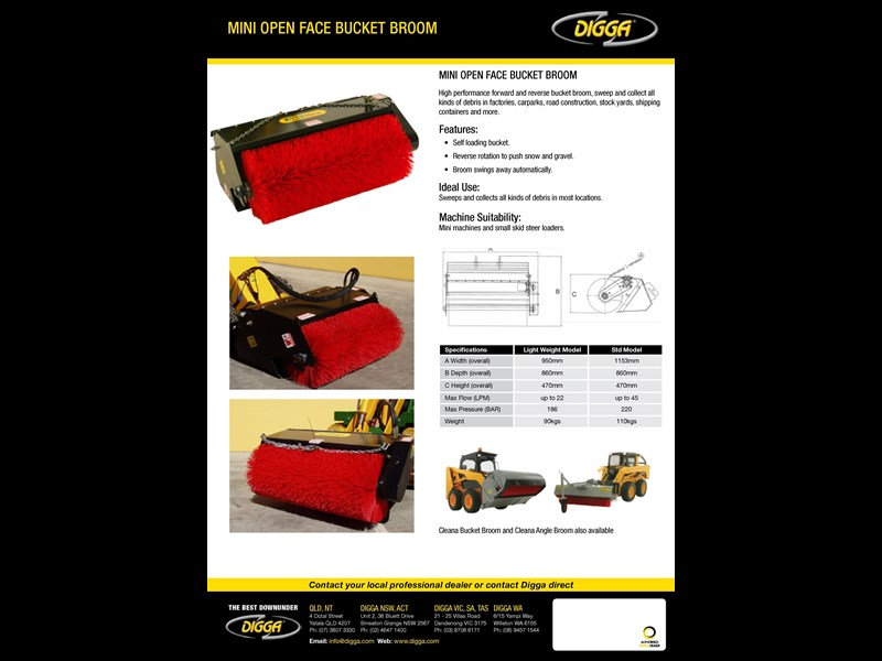 digga mini open face bucket broom 367681 003