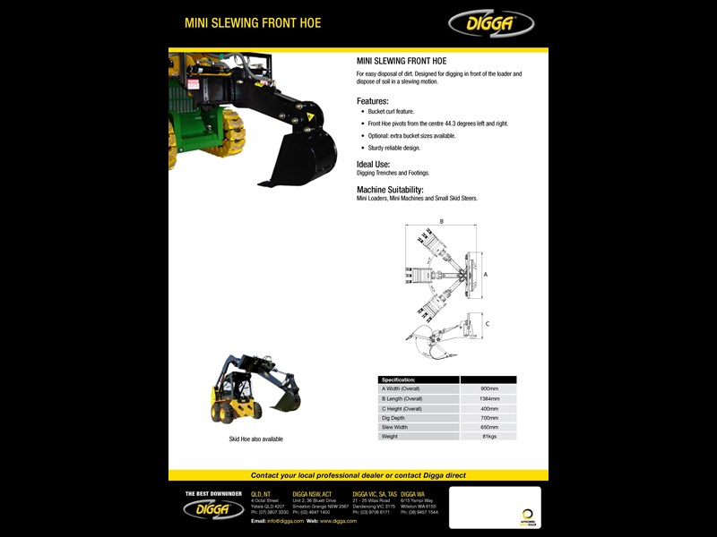 digga mini slewing front hoe 367700 005