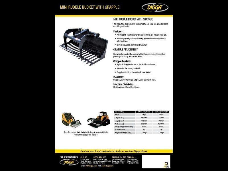 digga mini rubble bucket with grapple 367807 005