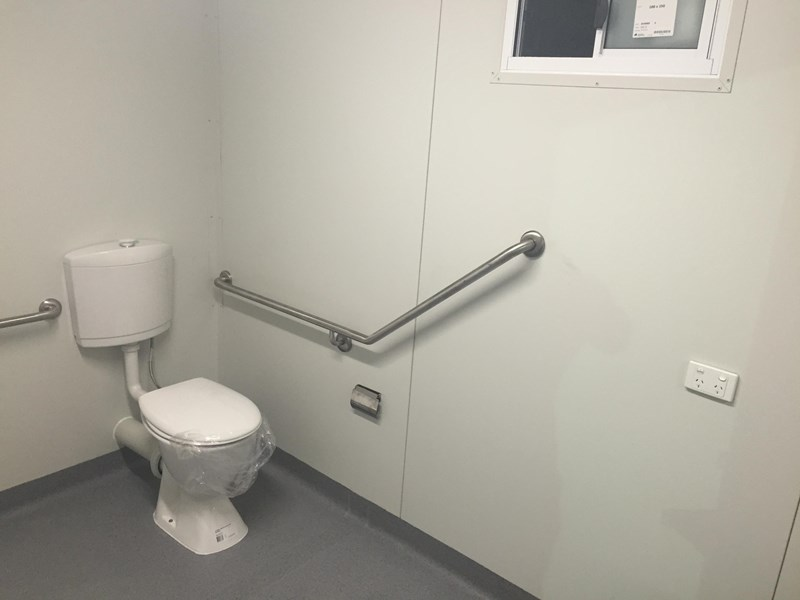 e i group portables compliant 3m x 2.4m disabled toilet/shower 368088 009