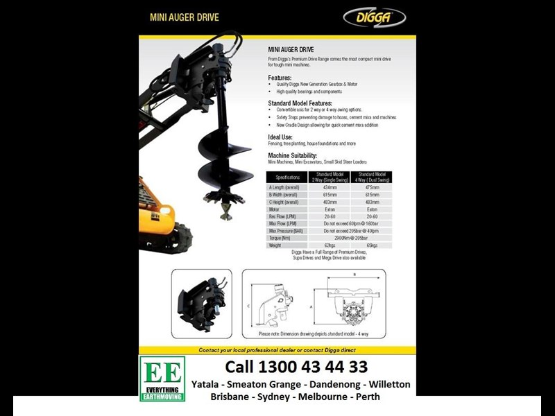 digga digga mini loader auger drive standard model 2 way (single swing) 385617 003