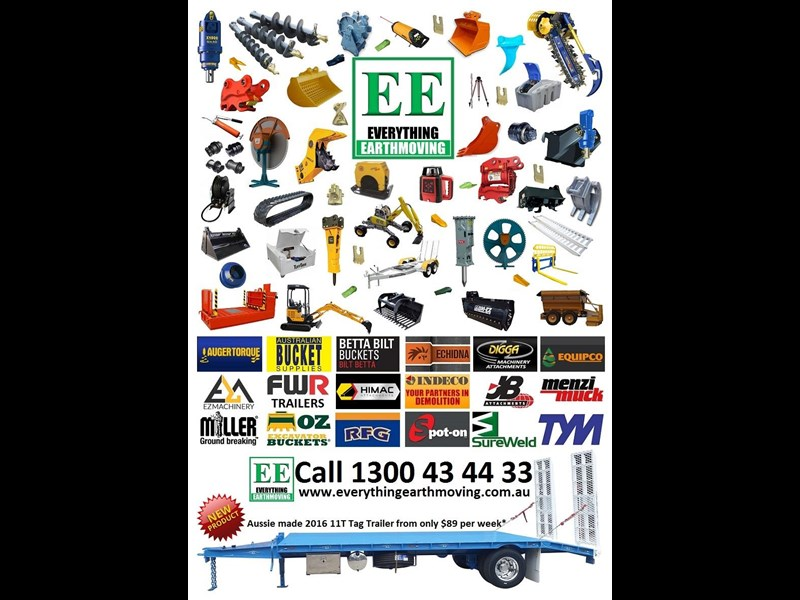 everything earthmoving 11t atm single axle tag trailer with beaver tail 357093 099