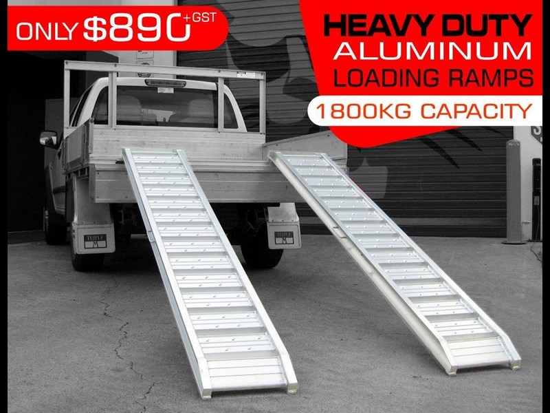 rhino 1800.kg aluminium loading ramps - kanga / dingo / bobcat / skid steer loading ramps [attramp] 394515 001