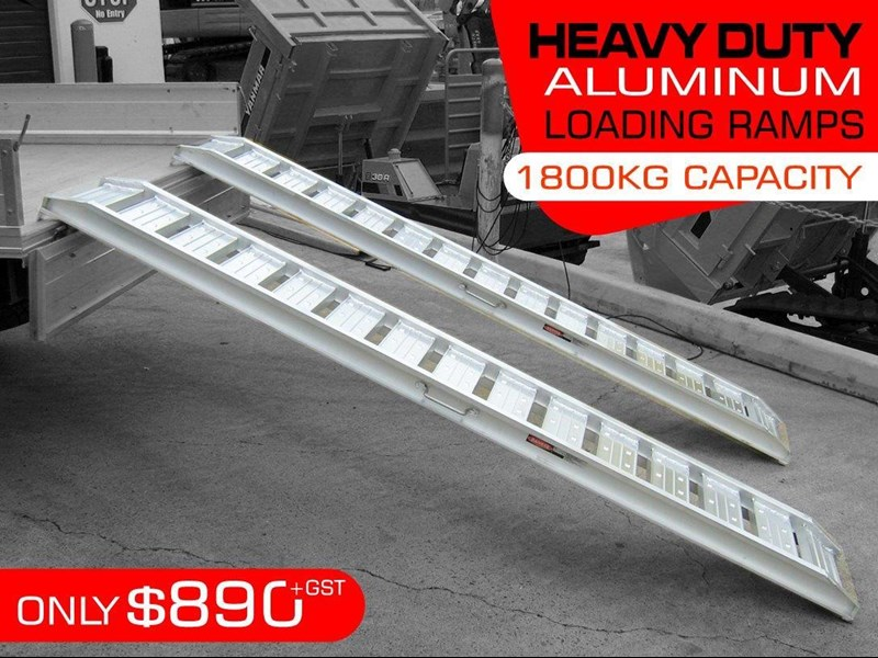 rhino 1800.kg aluminium loading ramps - kanga / dingo / bobcat / skid steer loading ramps[attramp] 394522 001