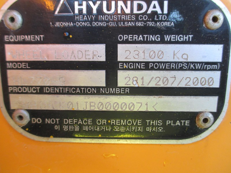 hyundai hl770-9 (also available for hire) 407765 049