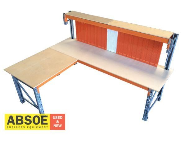 work benches corner workbench with pegboard backing 418686 001