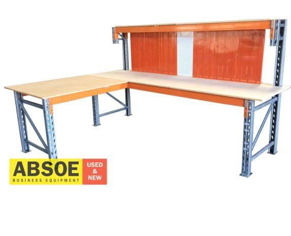 work benches corner workbench with pegboard backing 418686 003