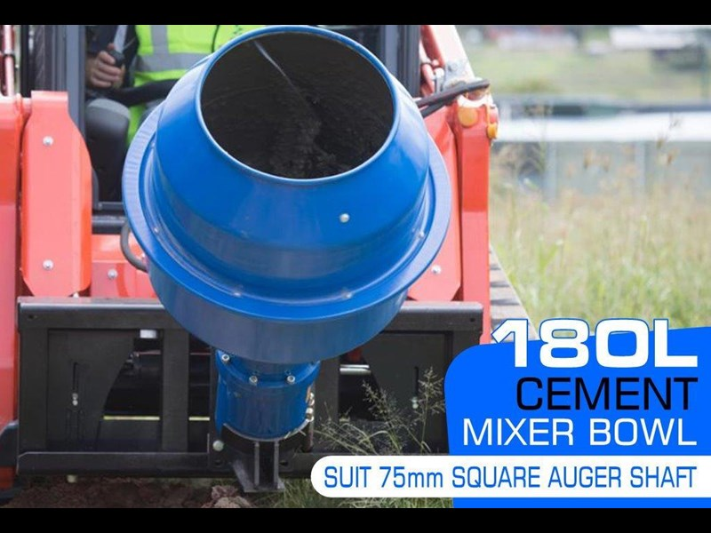 auger torque 180l cement mixer bowl (75mm square earth drill / auger shaft) [attaug] 424569 003