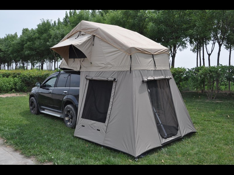 kylin campers 4-person canvas roof top tent + tent room 425378 009