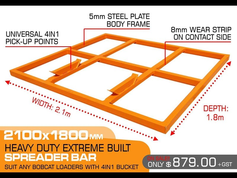 other heavy duty extreme built 2100 mm width levelling bars attachments / 2100mm x 1800mm spreader bars [attbars] 427523 001