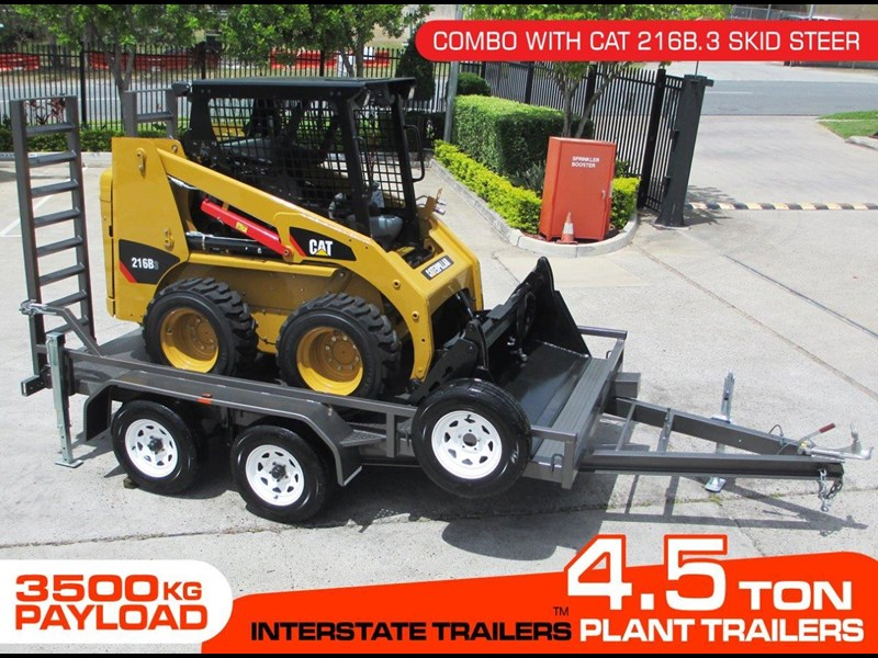 interstate trailers 4.5 ton plant trailer + caterpillar 216b.3 cat 216.b3 skid steer loader  [mcombo] [attrail] 234616 001