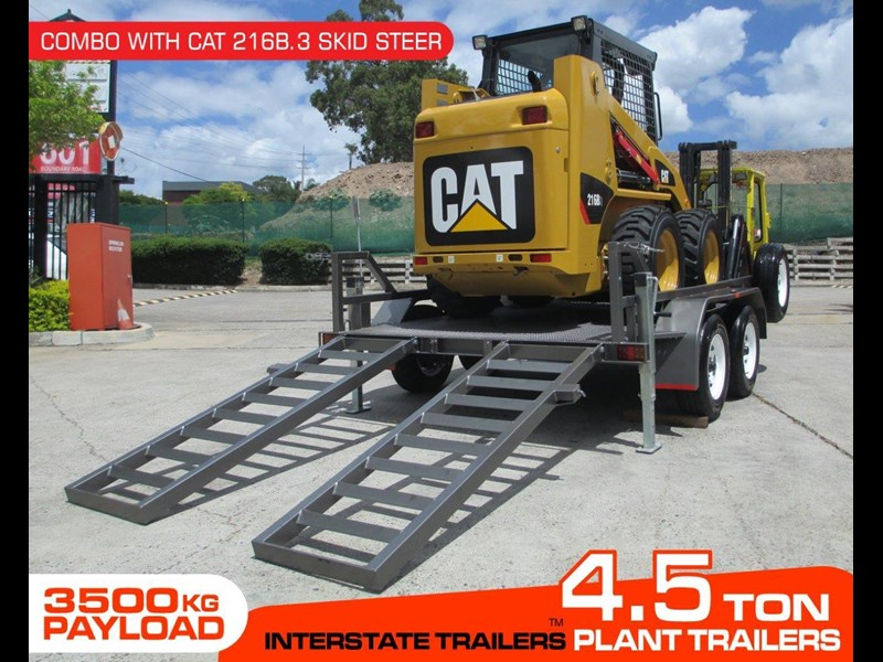 interstate trailers 4.5 ton plant trailer + caterpillar 216b.3 cat 216.b3 skid steer loader  [mcombo] [attrail] 234616 002