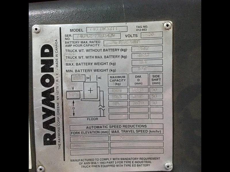raymond double deep reach truck 477221 009