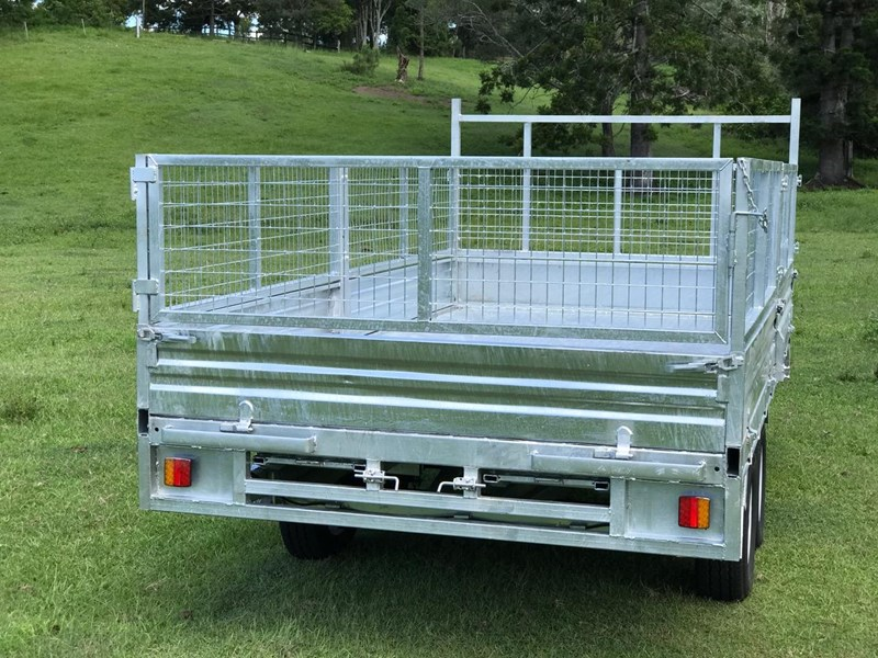 ozzi trailers 14x7 flat top hydraulic tipper trailer with ramps cage galavanised 571238 007