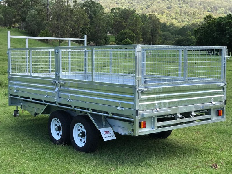 ozzi trailers 14x7 flat top hydraulic tipper trailer with ramps cage galavanised 571238 009
