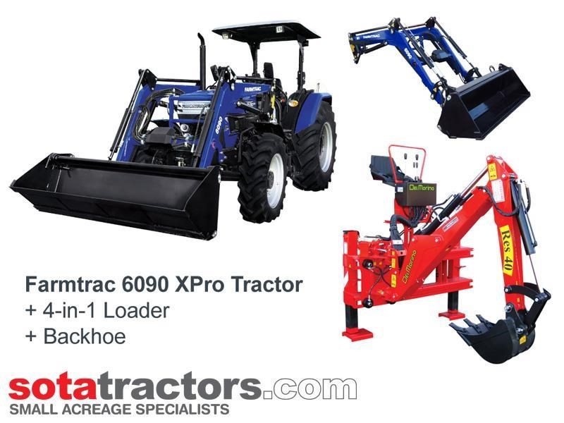 farmtrac 87hp tractor + 4 in 1 loader + backhoe 646189 001