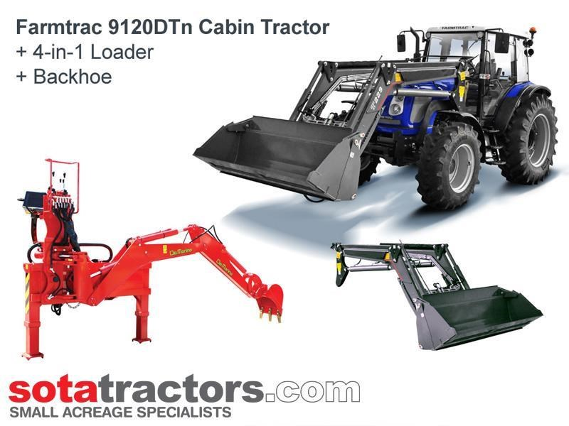 farmtrac 110hp cab tractor + 4 in 1 loader + backhoe 646221 001
