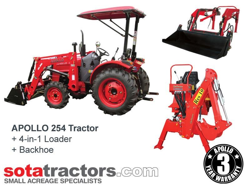 apollo 25hp tractor + 4 in 1 loader + backhoe 646224 001