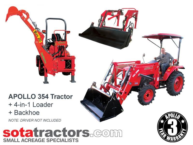 apollo 35hp tractor + 4 in 1 loader + backhoe 646229 001