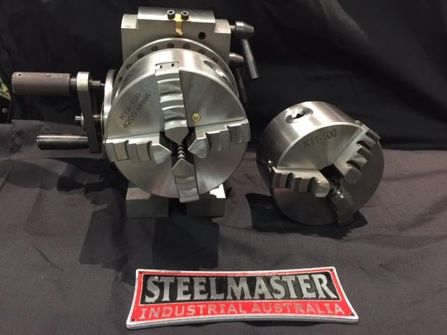 steelmaster semi universal dividing head bs-0-4c, comes with 3 & 4 jaw 100mm dia. chucks 701618 025