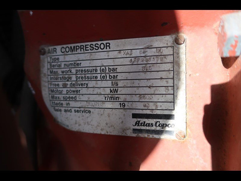 atlas copco xas85 trailer mounted compressor 686227 013