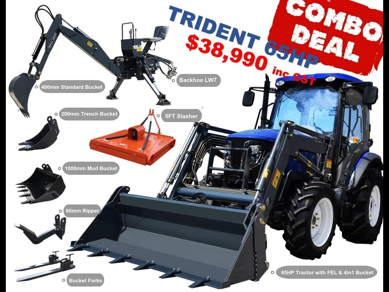 trident 65hp tractor with fel 4in1 bucket 784545 145