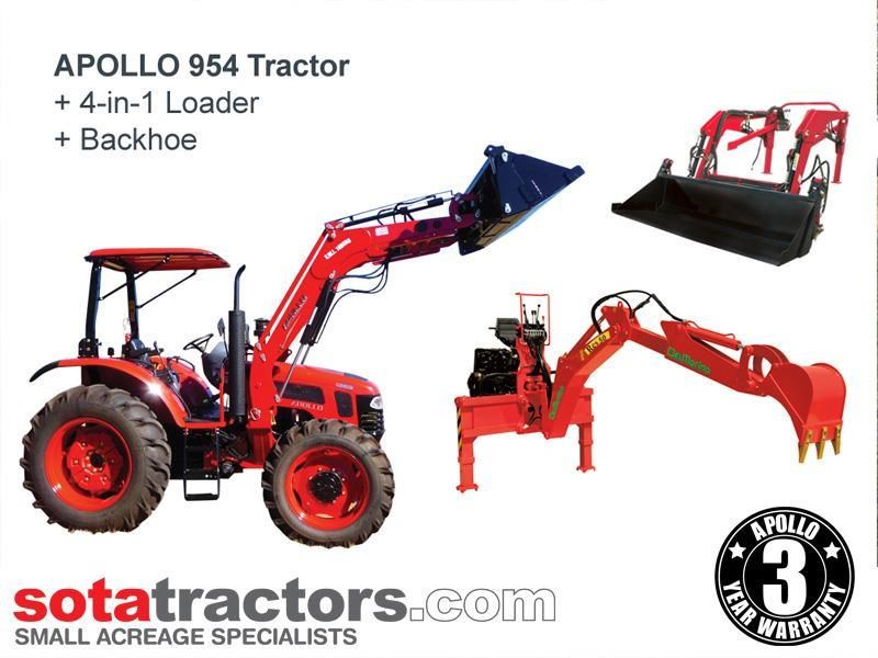 apollo 95hp tractor + 4 in 1 loader + backhoe 804495 001
