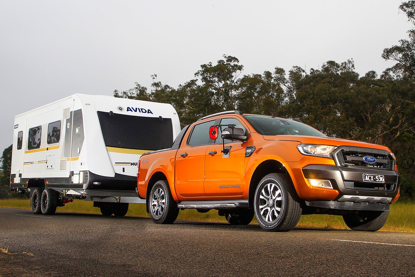 Ford ranger tows 2500kg caravan