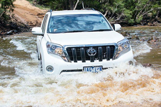 Toyota Prado driving water