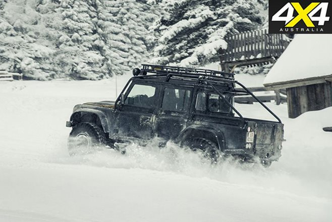 Land Rover Defender in the snow