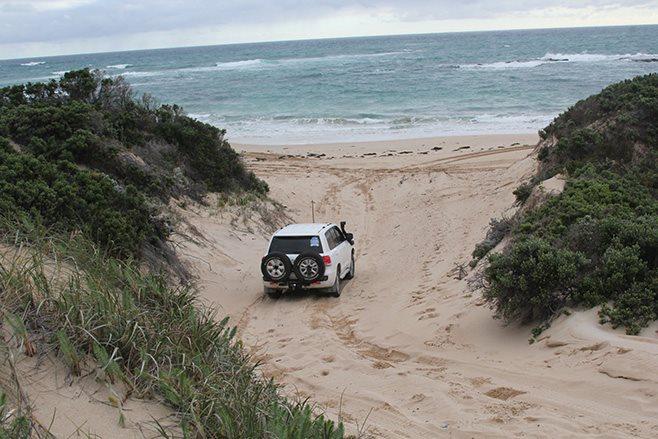 driving onto beach
