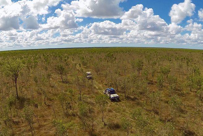 driving through srub land