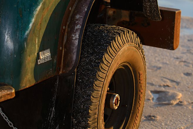 Custom 1968 J Series wheels and guards