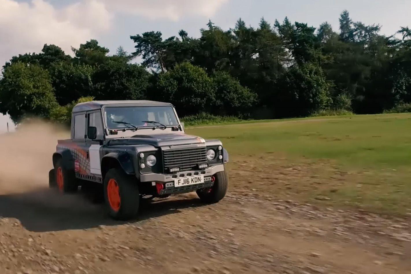 land rover defender with supercharged jaguar f-type v6
