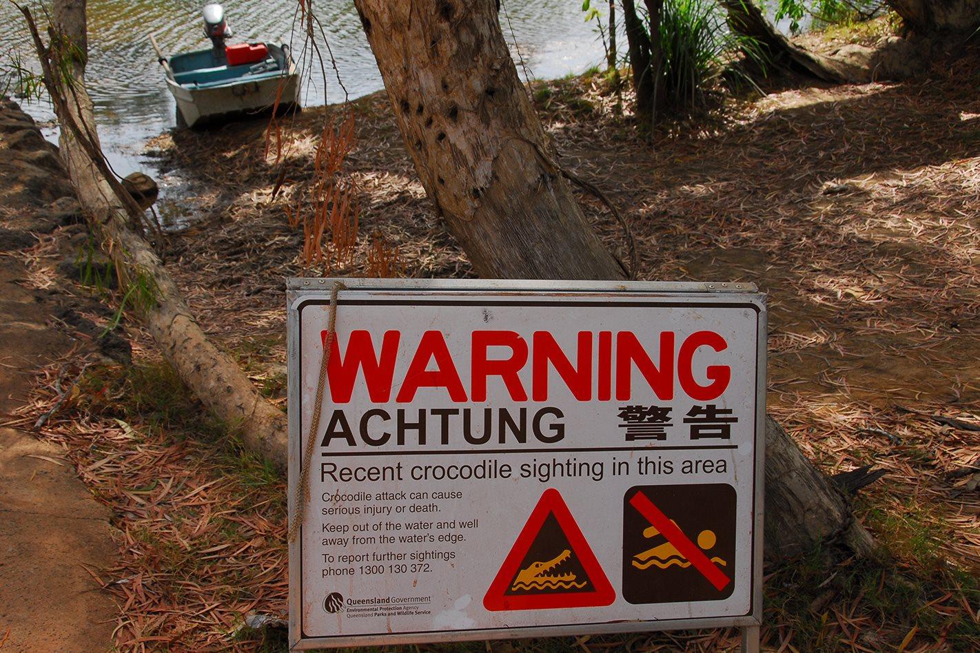 Warning Crocodile Sign