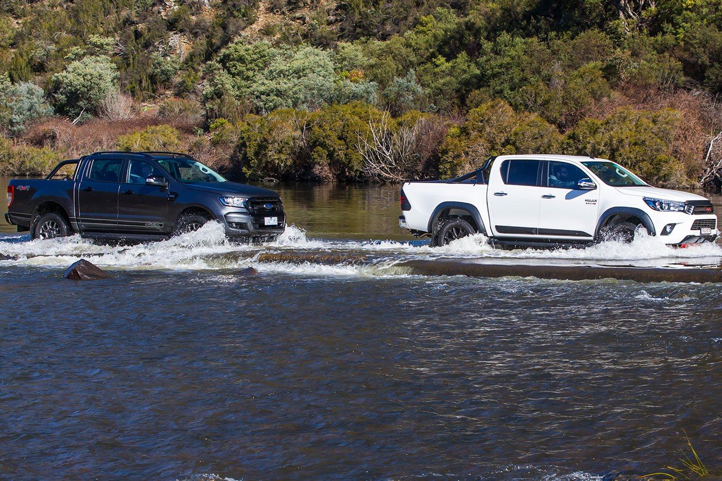 Toyota Hilux TRD vs Ford Ranger FX4 offroading