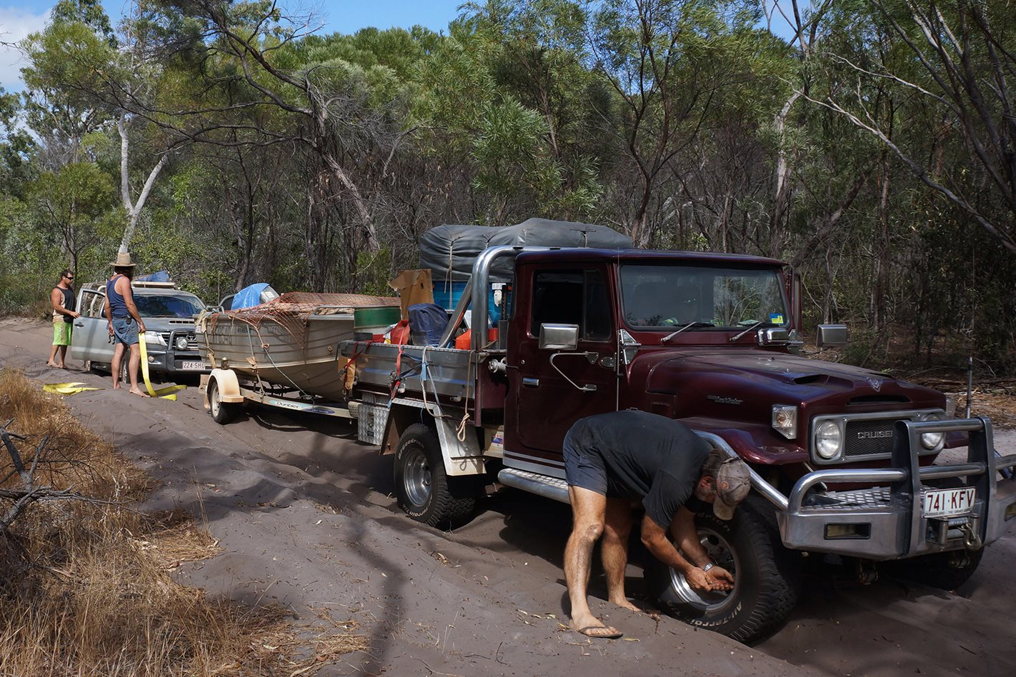 Bogged vehicles on the Bathurst Bay Track
