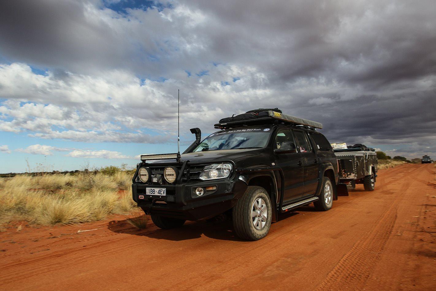 Volkswagen Amarok with camper trailer