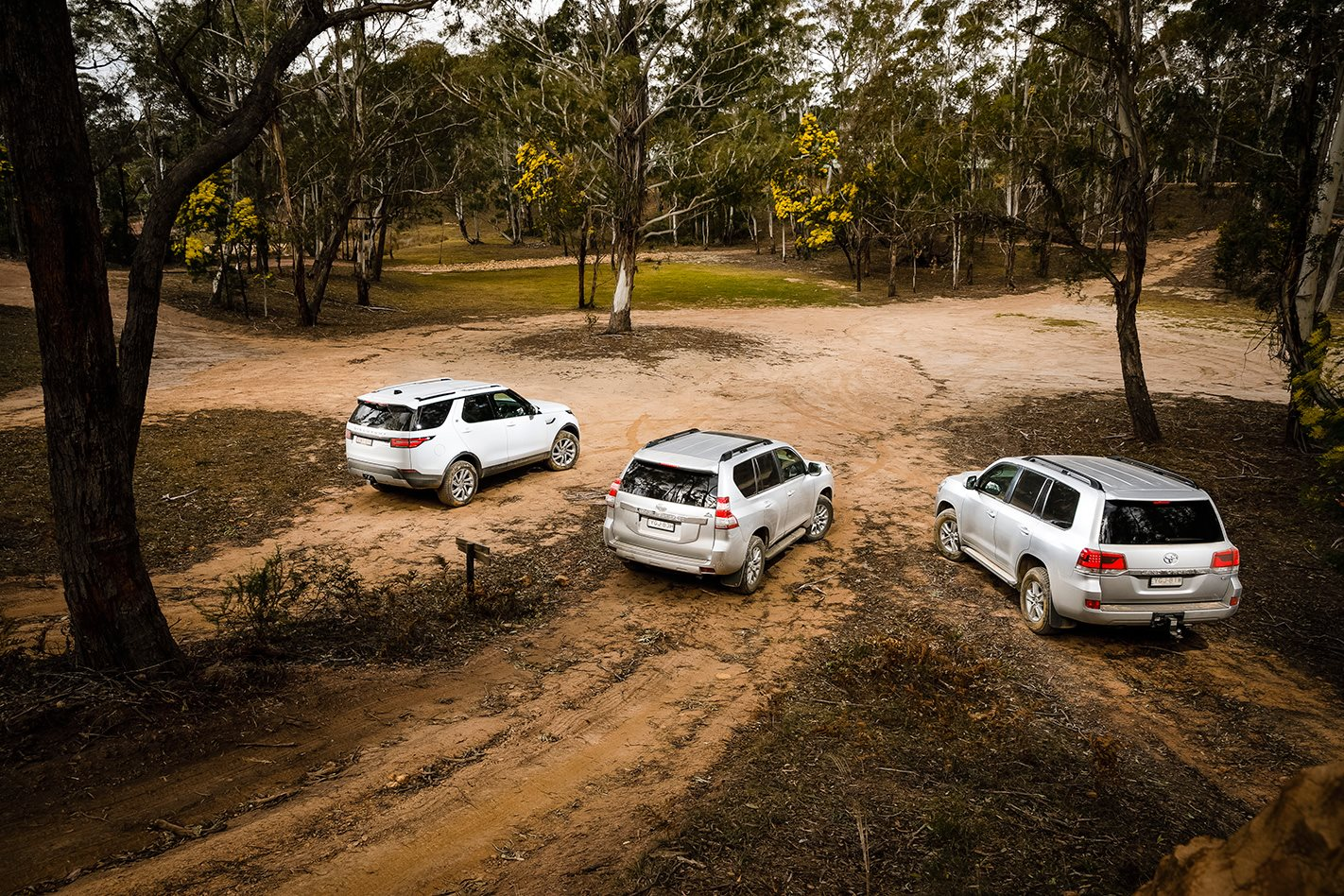 2017 Land Rover Discovery v Toyota 200 Series v Toyota Prado rear.jpg