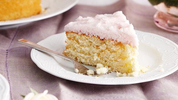 "Moist coconut cake. Recipe [here](http://www.foodtolove.com.au/recipes/moist-coconut-cake-with-coconut-ice-frosting-14952 ""_blank"")"