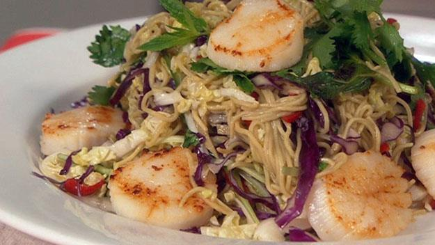 "**[Seared scallops with noodle salad](https://womensweeklyfood.com.au/recipes/seared-scallops-with-noodle-salad-7028|target=""_blank"")**  Add some juicy seared scallops to a classic Asian salad with chillies, coriander, mint and fish sauce."