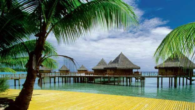 Resort huts in the ocean