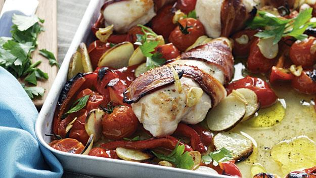 "**[Roast chicken with potato, tomato and capsicum](https://www.womensweeklyfood.com.au/recipes/roast-chicken-with-potato-tomato-and-capsicum-7390|target=""_blank"")**  This divine bacon wrapped chicken recipe is beautiful enjoyed straight straight from the pan served with fresh veggies for a tasty family dinner."