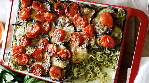 "**[Eggplant and pesto baked pasta](https://www.womensweeklyfood.com.au/recipes/eggplant-and-pesto-baked-pasta-8018|target=""_blank"")**"