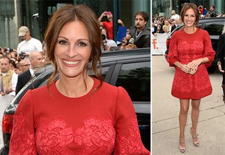 Pretty woman: Julia Roberts ravishing in red