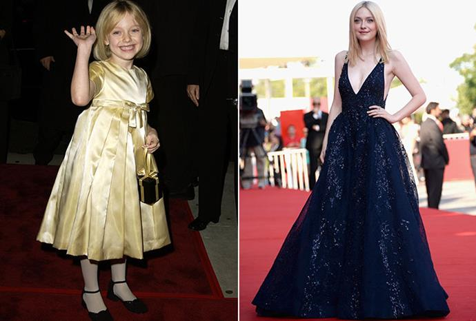 Dakota Fanning on the red carpet in 2001, and earlier this month.
