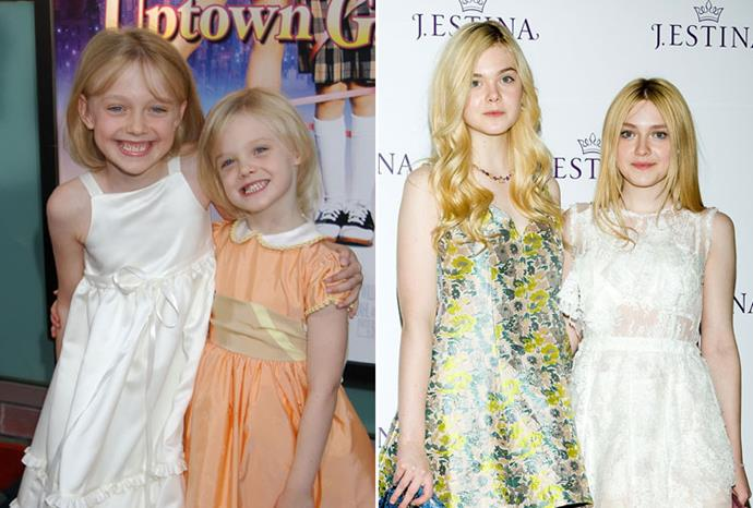 Dakota and Elle Fanning in 2001, and in January.