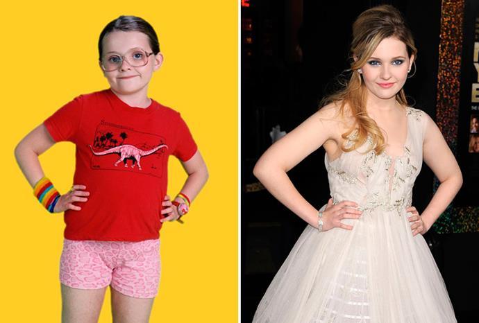 Abigail Breslin in *Little Miss Sunshine* and in December 2011.