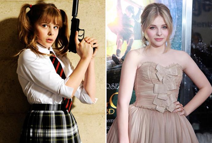 Chloe Moretz as Hit Girl in *Kick-Ass* and in New York in December 2011.